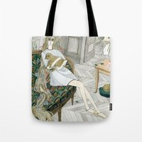 puppies Tote Bags featuring Two Puppies by Yuliya