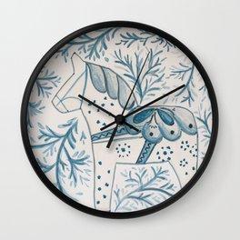 Blue & White Dala Horse Wall Clock