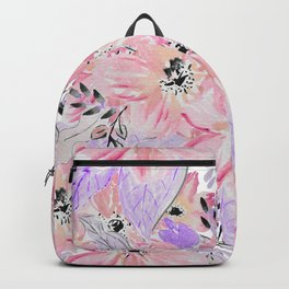 Modern pastel lilac pink watercolor flowers Backpack