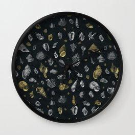 Sea shells pattern gold and silver Wall Clock