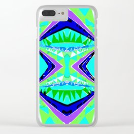 psychedelic geometric abstract pattern background in green purple blue Clear iPhone Case