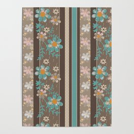 Retro . Turquoise and brown floral pattern . Poster