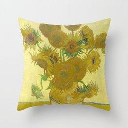 Vincent van Gogh - Still life: Vase with Fifteen Sunflowers (1888) Throw Pillow
