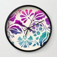 vintage floral Wall Clocks featuring Vintage Floral by Jacqueline Maldonado