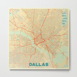Dallas Map Retro Metal Print