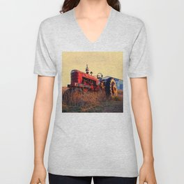 old tractor red machine vintage Unisex V-Neck