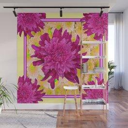 Styalized Art Purple & Yellow Chrysanthemums Floral Garden Wall Mural