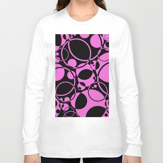 Black and pink bubbles pattern Long Sleeve T-shirt