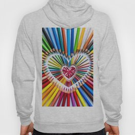 Colorful Pencils with Pink Heart Stone Hoody