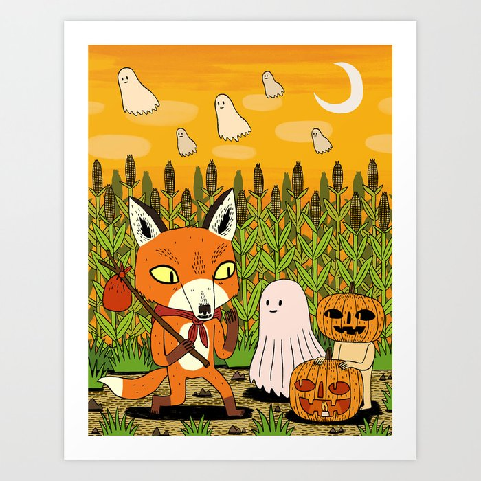 The Fox and the Pumpkin Art Print