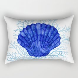 Seashell on coral - watercolors Rectangular Pillow