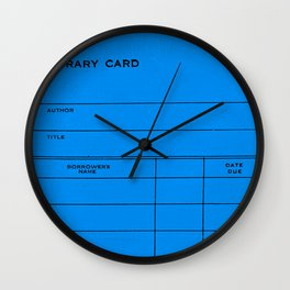 Library Card BSS 28 Blue Wall Clock