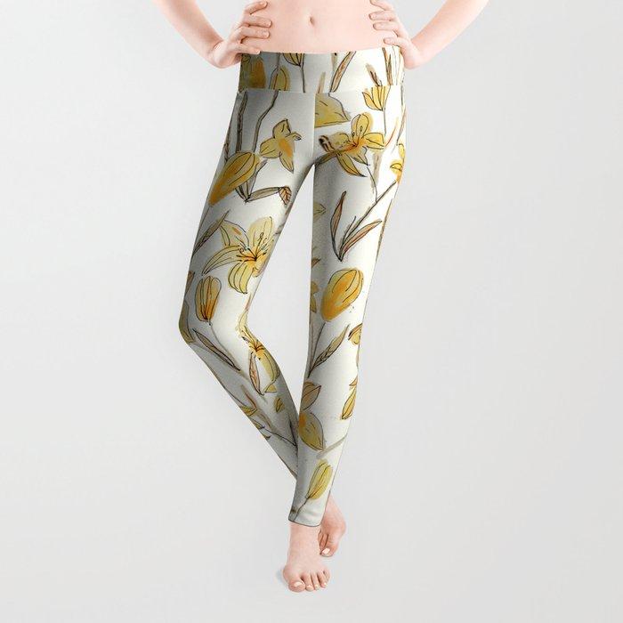 Yellow Floral Pattern Leggings