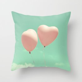 Close Love, Pink heart balloons on soft blue sky Throw Pillow