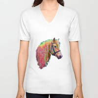 pony V-neck T-shirts featuring Rainbow Pony. by HelenMacNee
