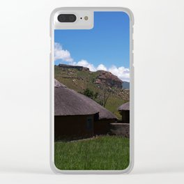 Thatch roof houses at a village Clear iPhone Case