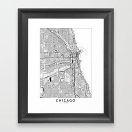 Chicago White Map Framed Art Print