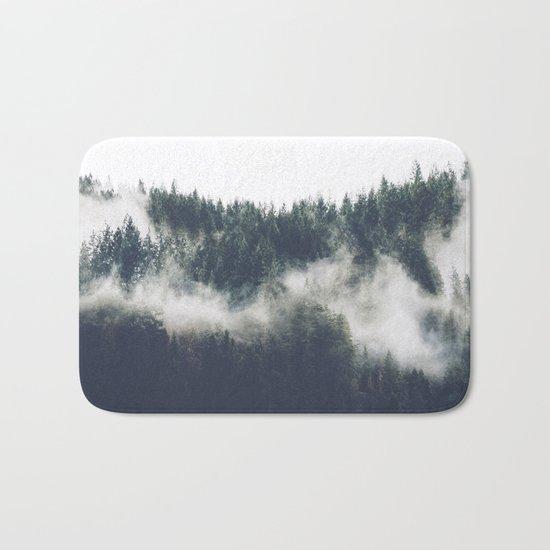 Abstract Forest Fog Bath Mat