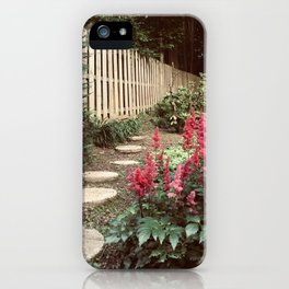 Tall Red Flowers & Path iPhone Case