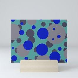 bubbles blue grey turquoise design Mini Art Print