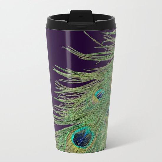 Peacock Feathers on Purple Background Metal Travel Mug