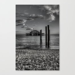 West pier in black and white Canvas Print