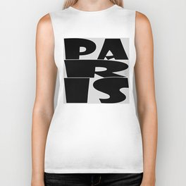 Paris, in black with white outline Biker Tank