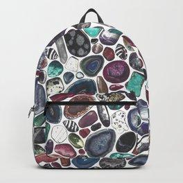 MIXED GEMSTONES ON WHITE Backpack