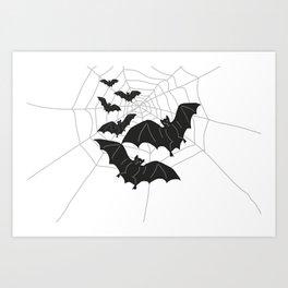 Black Bats with Spider Web Halloween Art Print