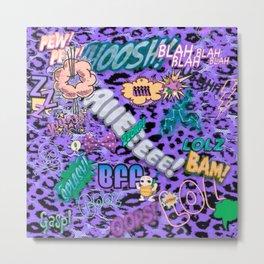 Funky Comic allover,purple Metal Print