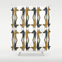 foxes Shower Curtains featuring Foxes by Mariel Castro