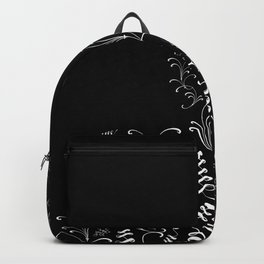 Delicate Black and White Floral Decor Backpack