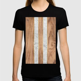 Wood Grain Stripes White Marble #497 T-shirt