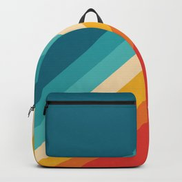 Classic 70s Vintage Style Retro Summer Vibes Stripes - Feruda Backpack