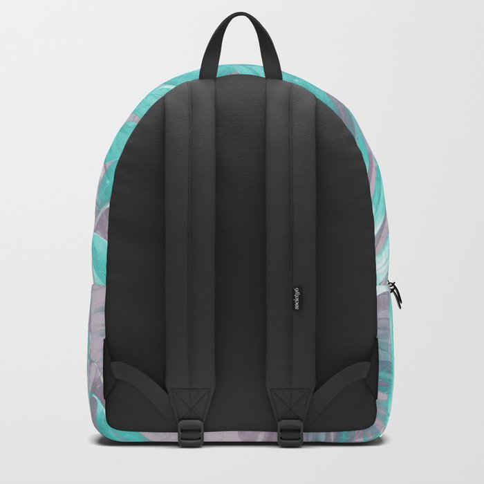 Teal and Silver foliage Backpack