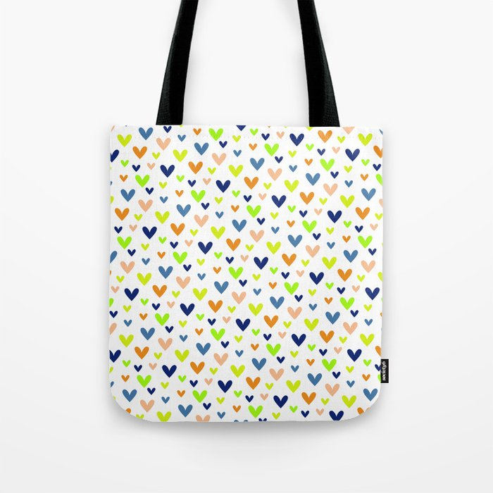 Happy Hearts on White Tote Bag