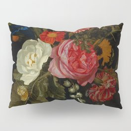"""Maria van Oosterwijck """"Flowers in a vase on a marble ledge"""" Pillow Sham"""