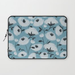 Cotton Flowers on Blue Pattern Laptop Sleeve