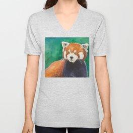 Red panda watercolor portrait Unisex V-Neck