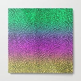 Green/Pink/Yellow Elephant Skin Metal Print