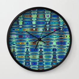 Abstract High Texture Weaving Pattern Blue Green Wall Clock