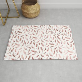 Dark Mottled Rose Gold Metallic Foil Feathers Rug