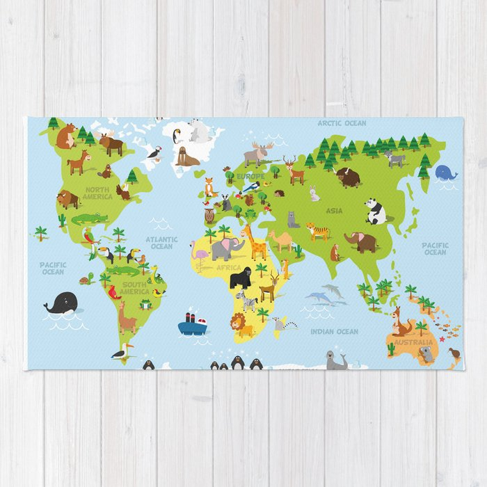 Funny cartoon world map with traditional animals of all the funny cartoon world map with traditional animals of all the continents and oceans rug gumiabroncs Gallery