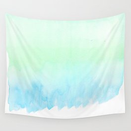 Hand painted turquoise teal blue watercolor ombre brushstrokes Wall Tapestry