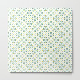 Seamless floral pattern, yellow and teal #society6 #decor #buyart #artprint Metal Print