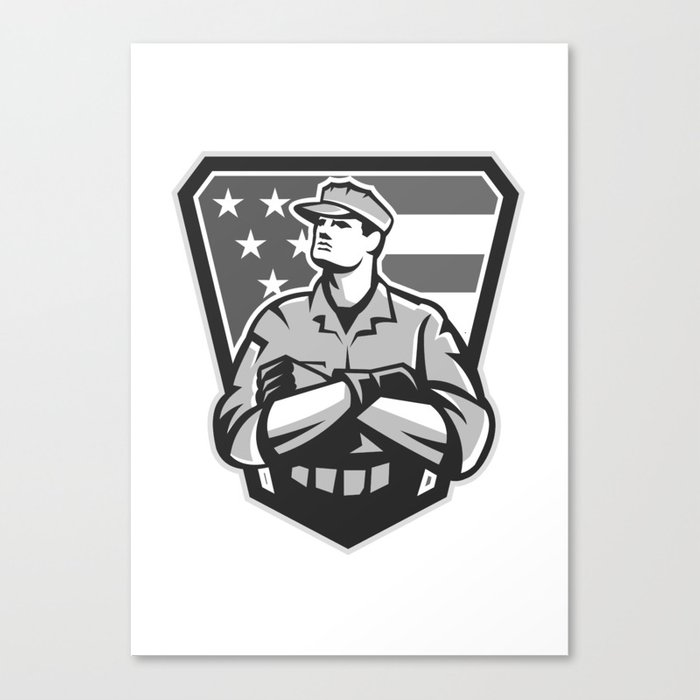 American Soldier Arms Folded Flag Grayscale Canvas Print