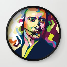 Sir Isaac Newton In Pop Art Portrait Wall Clock