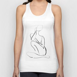 Female Figure Line Art Unisex Tank Top