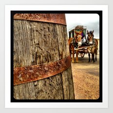 A barrel and some donkeys. Art Print