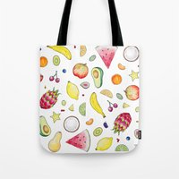 fruits Tote Bags featuring Fruits by Hacklock